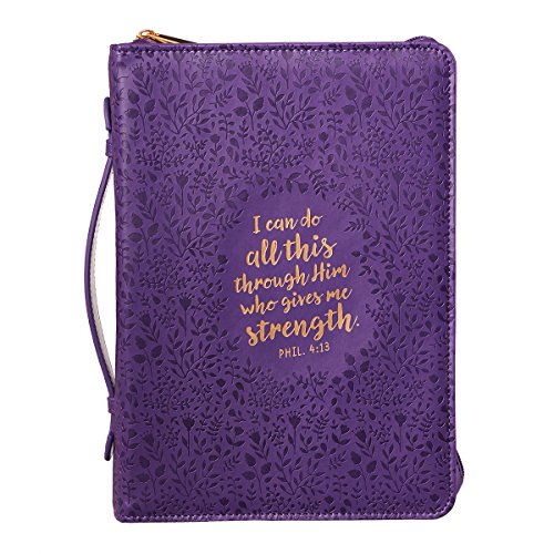 Purple Bible Cover (Bible Cover, I Can Do All This Floral Embossed Purple,)