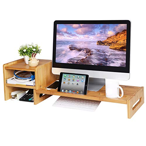 SONGMICS Bamboo Monitor Stand Riser, Laptop Stand, for Cellphone, TV, Printer, with 2-Tier Desktop Storage Organizer, Patented ULLD217