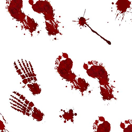 TEEHOME Bloody Footprints Floor Clings (42pcs - 8 Sheets)   Vampire Zombie Party Halloween Creepy Decorations Decals Stickers Supplies   Best Scare Halloween Decorations for Floor and Wall -