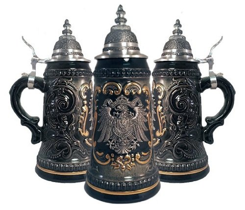 - OKSLO German black beer stein with pewter eagle crest .25l one mug made in germany new
