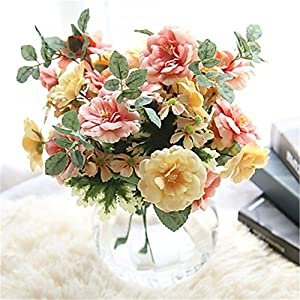 JJH 1 Branch Polyester Roses Tabletop Flower Artificial Flowers 120