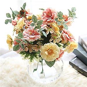JJH 1 Branch Polyester Roses Tabletop Flower Artificial Flowers 114