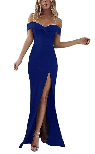 Mujer Vestidos Largos De Fiesta para Bodas Verano Elegantes Sin Hombro Slim Lindo Chic con Aberturas