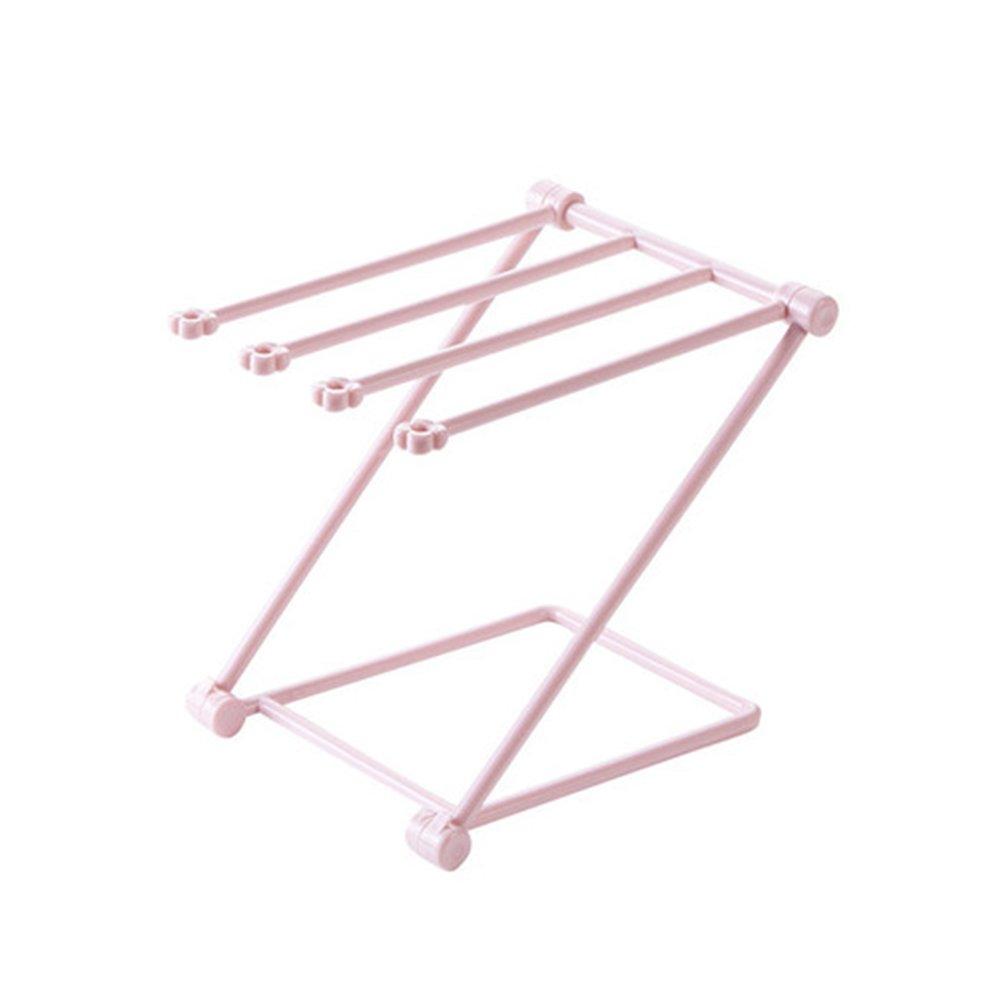 NaiCasy - Porta asciugamano pieghevole da cucina, con supporto a secco e supporto in vetro per scrivanie e stoviglie, colore: rosa
