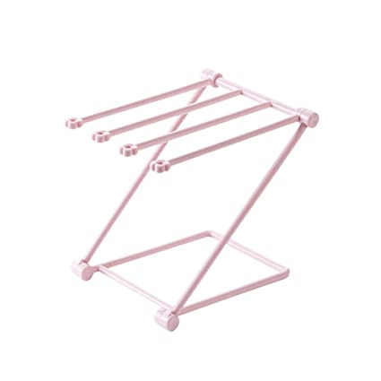 Estante de ropa, tendedero plegables trapos de cocina multi propósito escritorio vidrio titular plegable plato
