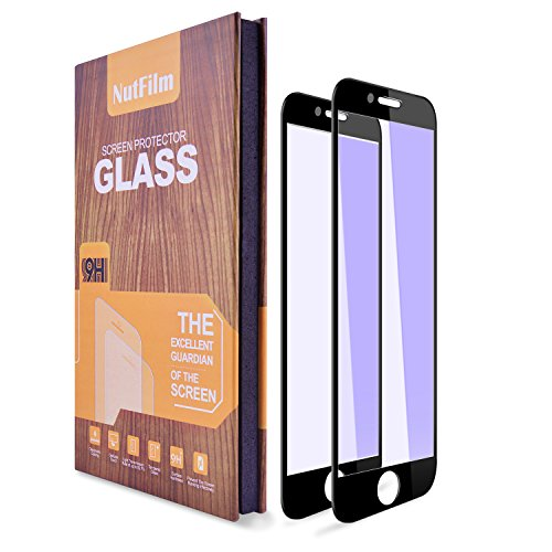 iPhone 8 Plus, 7 Plus Screen Protector Edge to Edge [2-pack] , Anti Blue Ray Light Full Coverage Tempered Glass Screen Protector Film for Apple iPhone 8 Plus, iPhone 7 Plus Black (Anti Blue Ray Black)