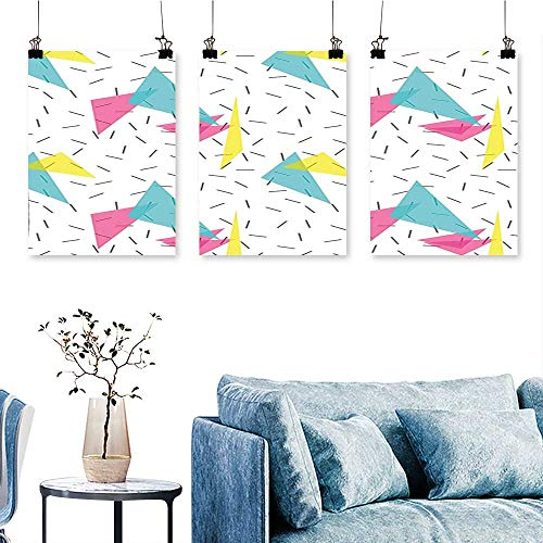 - SCOCICI1588 Three Consecutive Painting Frameless Style Modern Kitsch Geometric Forms with Lines Colorful Triangles Graphic Artwork for Wall Decor Triptych 24 INCH X 35 INCH X 3PCS