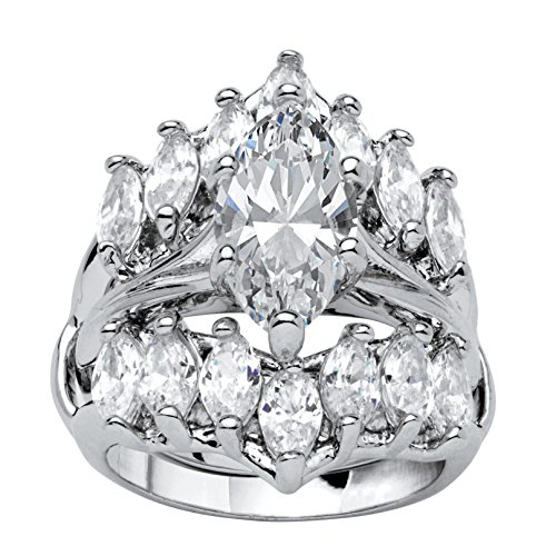 Palm Beach Jewelry Silver Tone Marquise Cut Cubic Zirconia Jacket Bridal Ring Set Size 7
