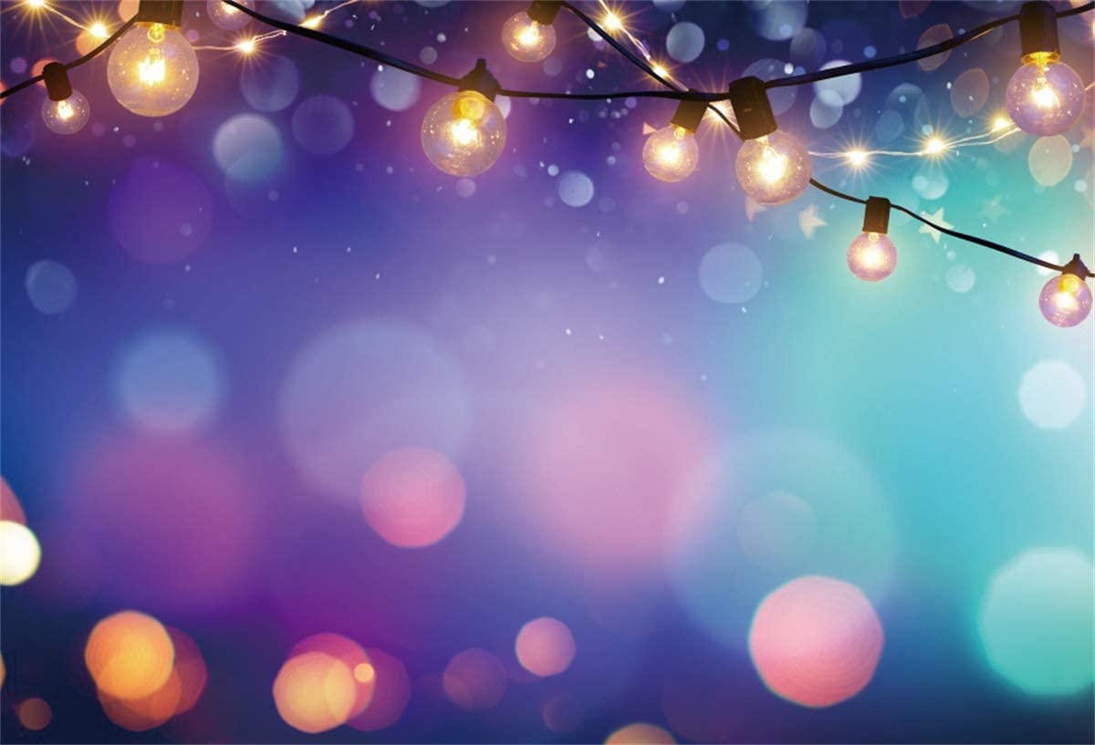 Yeele Christmas Photography Backdrop Colorful Bokeh with String Lights Background Xmas Party Decoration Newborn Baby Kids Portrait 10x8ft Photo Booth Banner Photoshoot Props Wallpaper