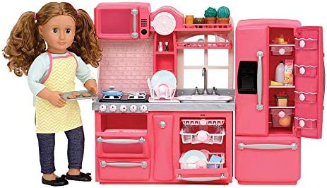 Amazon Com Our Generation By Battat Gourmet Kitchen Pink Toy Kitchenette Accessories For 18 Dolls Age 3 Years Up Toys Games