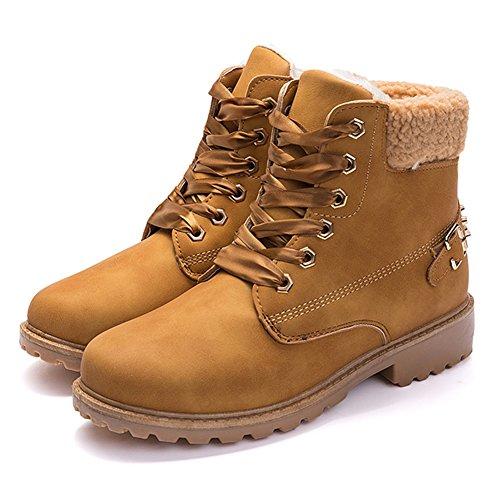 BenSports Ben Sports Zapatos Botas Para Mujer Botas de Nieve Invierno Fur Boots Botines Para Mujer,2 Pares de Cordones de Zapatos Marrón