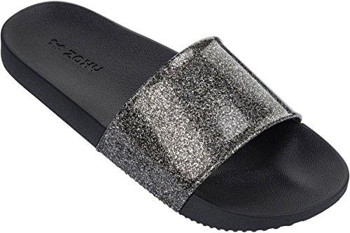 Zaxy SNAP GLITTER SLIDE Sandale 2018 glitter black Glitter Black