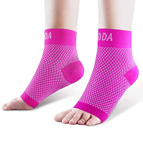 AVIDDA Ankle Brace for Men Women Pair Plantar Fasciitis Socks with Arch Support Compression Ankle Support Foot Sleeve for Achilles Tendon Support Swelling Eases Heel Pain Relief Pink X-Large