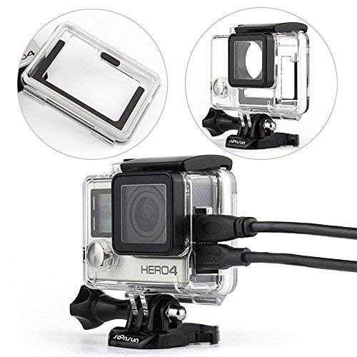 SOONSUN Side Open Protective Skeleton Housing Case with Skeleton Backdoor and Silicone Lens Cap for GoPro Hero 4, Hero 3+ and Hero 3 Camera