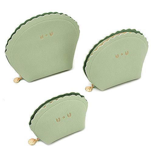 Women Makeup Bag Soft Leather, UU 3 in 1 Portable Carry on Travel Cosmetic Bag Toiletry Bag, Green