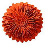 JWH 3D Sunflower Accent Pillows Hand Craft Round Cushion Decorative Pillowcases with Insert Home Sofa Bed Living Room Decor Gifts 14 Inch / 35 cm Wool Cotton Orange