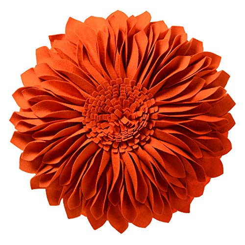 JWH Handmade 3D Flowers Accent Pillow Round Sunflower Cushion Decorative Pillowcase with Pillow Insert Home Sofa Bed Living Room Decor Gift 12 Inch / 30 cm Wool Orange -