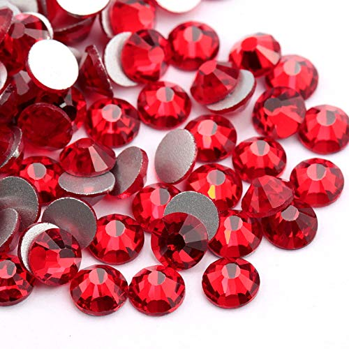(Siam 1440pcs/bag Red Flat Back Glass Rhinestones Glue Fix Nail Art Rhinestone Red Crystal Shining Non Hotfix Flatback Rhinestone Decorations for Nails (ss20))