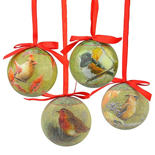 Northlight 14-Piece Nature's Birds Decoupage Shatterproof Christmas Ball Ornament Set 2.75