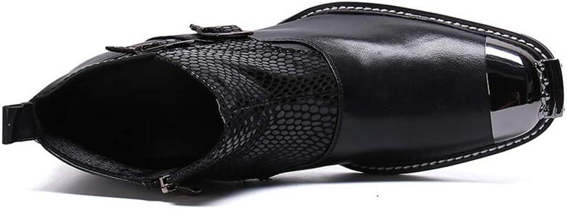 LZLHYH Männer Lederstiefel Modetrend Spitz Und Samt Martin Stiefel Hoch, Um Herrenschuhe Stiefel Höhe Zunehmende Aufzug Schuhe Große Schuhe Black O4dcI