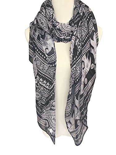 Herebuy - Cool Animal Print Scarf: Elephant Print Scarf for Women (Black01)