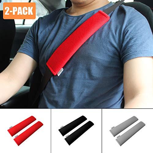 GAMPRO Car Seat Belt Pad Cover, 2-Pack Soft Car Safety Seat Belt Strap Shoulder Pad Adults Children, Suitable Car Seat Belt, Backpack, Shoulder Bag(RED)
