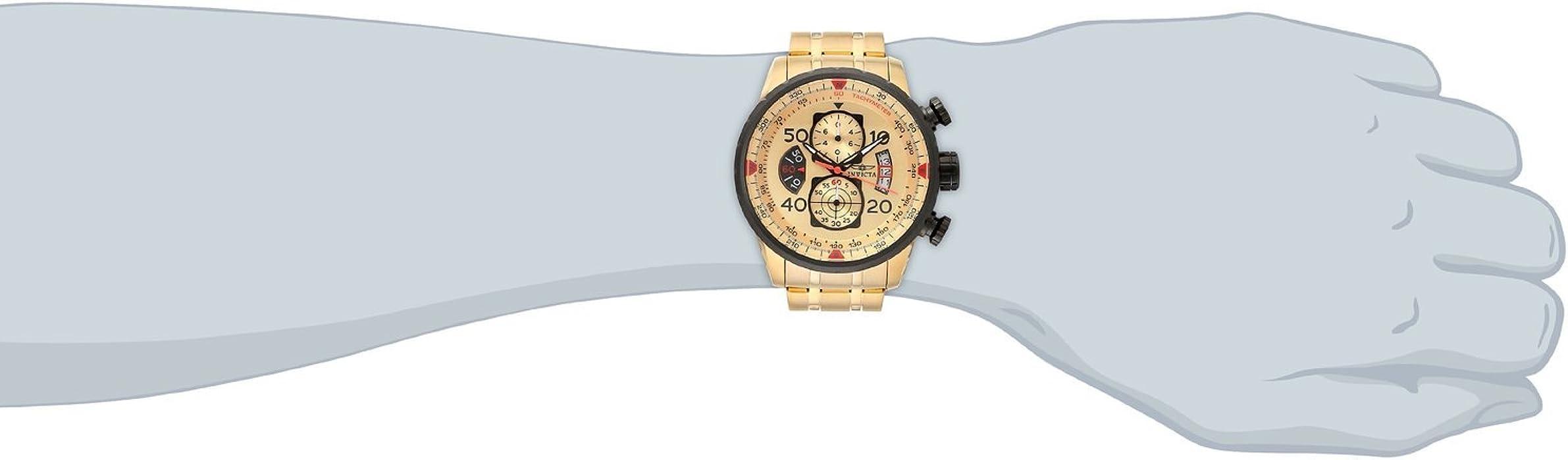 Invicta Men 17205 AVIATOR 18k Gold IonPlated Watch