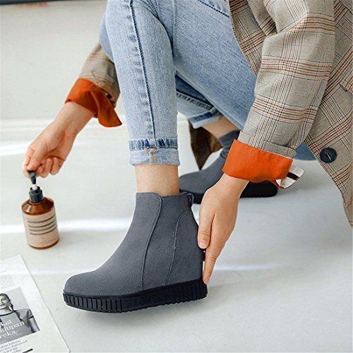 Coreana Mujeres cómodas Lateral Botas de de Botas tamaño gray de Cremallera Botas versión DEDE bajo tacón Medio de Tubo de Las Las Gran Sandalette La q7wgtvg4