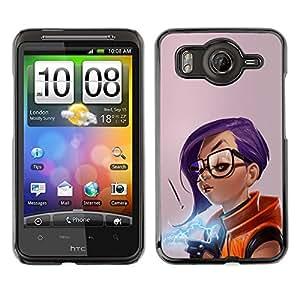 EJOY---Cubierta de la caja de protección la piel dura para el ** HTC G10 ** --Chica púrpura del pelo