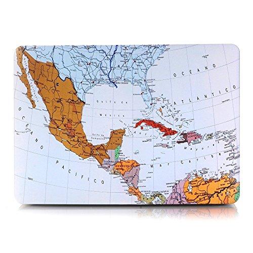 One Micron MacBook Air 13 inch Cover Case, Matte Soft Plastic Hard Case for MacBook Air 13''(A1369/A1466)-World Map ()