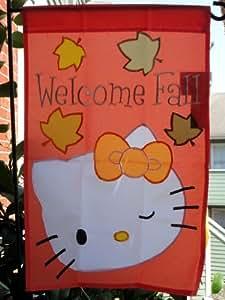 """Hello Kitty.... Bienvenido Fall... una cara bandera de Jardín Decorativa 12""""X 18"""""""