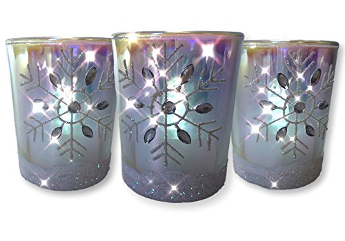 Snowflake Candles – Set of 3 Glass Votive Candleholders with White Glittered Snowflakes - Flameless Flickering LED Tealights Included – Metallic Rainbow Finish – Aurora Borealis (Votive Snowflake)