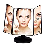 Black Makeup Vanity with Lights Artifi Lighted Vanity Mirror with 21 LED Lights, Touch Screen and 3X/2X/1X Magnification Makeup Mirror