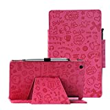 Lenovo TAB3 8 Case, 2016 Lenovo TAB3 A8 8 inch Tablet Model #TB3-850F Slim Folio Stand Protection Case by i-UniK with Bonus Stylus (Cute Pink)