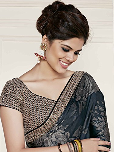 Shonaya-Womens-Embroidered-Faux-Georgette-Black-Designer-Saree-With-Unstitched-Blouse-Piece