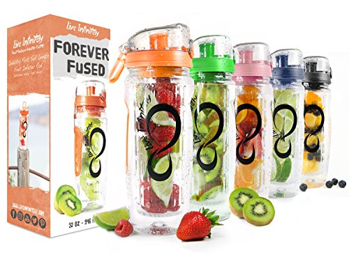 Dual Water - Live Infinitely 32 oz. Infuser Water Bottles - Featuring a Full Length Infusion Rod, Flip Top Lid, Dual Hand Grips & Recipe Ebook Gift (Orange, 32 oz)