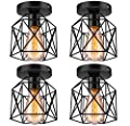 Licperron Semi-Flush Mount Ceiling Light E26 E27 Retro Black Industrial Ceiling Light Fixture for Porch Hallway Kitchen Farmhouse Lighting 4 Pack