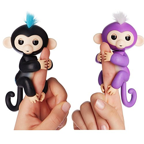 Fingerlings   Interactive Baby Monkey For Kids Toy   2 Pack Finn  Black With Blue Hair  And Mia Purple With White Hair