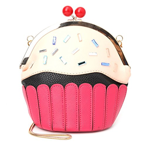 Mimgo Lady Women Cup Cake Long Chain Strap Crossbody Shoulder Bag Handbag Red