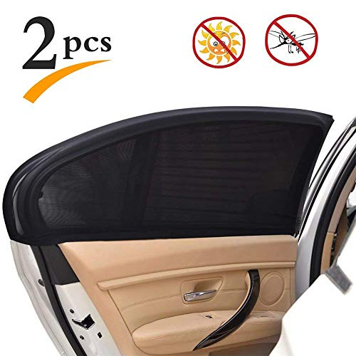 Uarter Medium Medium Universal Rear Side Window Baby Kid Pet Breathable Sun Shade Mesh Backseat (2 Pcs) Fits Most Small and Medium Cars ()