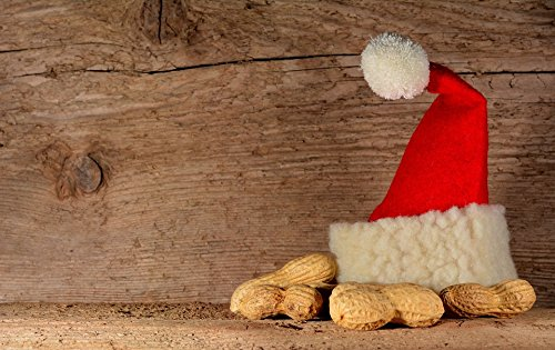 Home Comforts Laminated Poster Christmas Peanuts Santa Hat Wood Background Advent Poster Print 11 x 17
