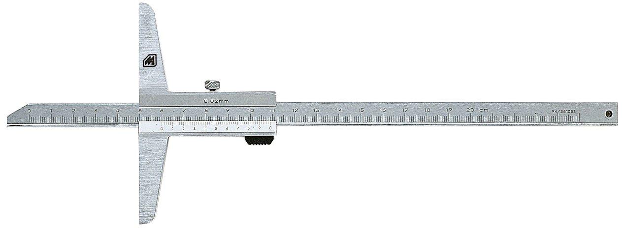 verchromt Metrica 10151 Tiefenmesser 200 mm