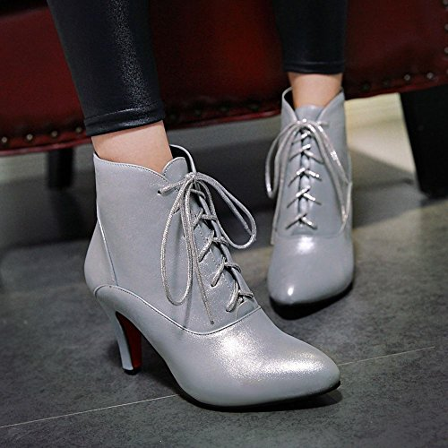 Mee Shoes Damen high heels mit Schnürsenkel Ankle Boots Silber