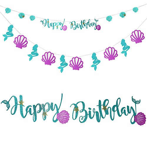 Onshine Mermaid Birthday Banner Sparkling Blue Mermaid Style Happy Birthday with 10 pcs Beautiful Cardboard for Birthday Decoration (Mermaid Themed Party Ideas)