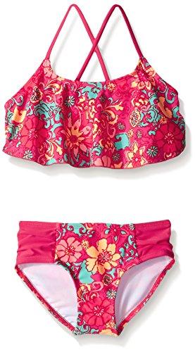 Kanu Surf Big Girls Karlie Flower Flounce Bikini Swimsuit, Pink, 8