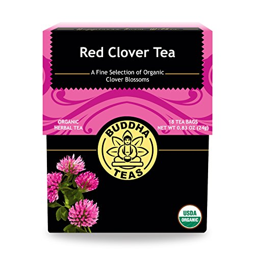 Organic Red Clover Tea, 18 Bleach- Free Tea Bags - Caffeine Free, Source of Antioxidants, Vitamins, and Nutrients, Relieves Menopause Symptoms, and Supports Healthy Cholesterol Levels, No GMOs