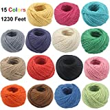 1230 Feet Jute Twine 82feet/Color 2mm Natural Jute Rope Hemp Strong Cord Thick String for DIY Craft Home Garden Deco (15colors)