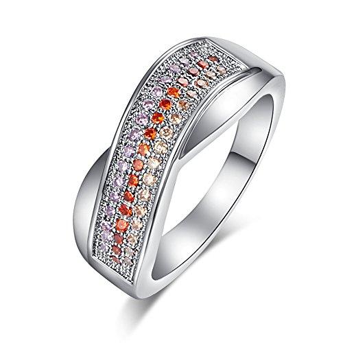 PAKULA Silver Plated Women Simulated Amethyst & Morganite & Garnet Stackable Ring Band Size ()