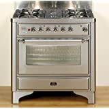UM90FMPI Majestic Collection 36 Freestanding Dual Fuel Range 4 Burners 2.8 cu. ft. Primary Oven Capacity Defrost Function and Quick Start: Stainless