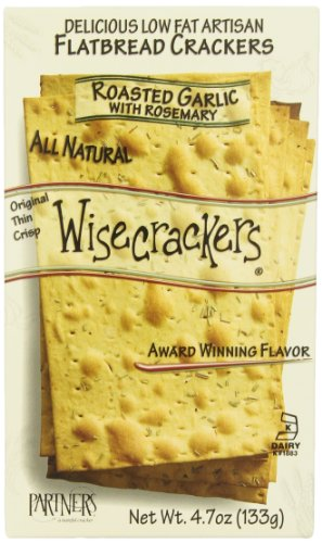 Partners Wisecrackers Low Fat Flatbread Style Crackers, Roasted Garlic Rosemary, 4.7 Ounce Boxes (Pack of 6)